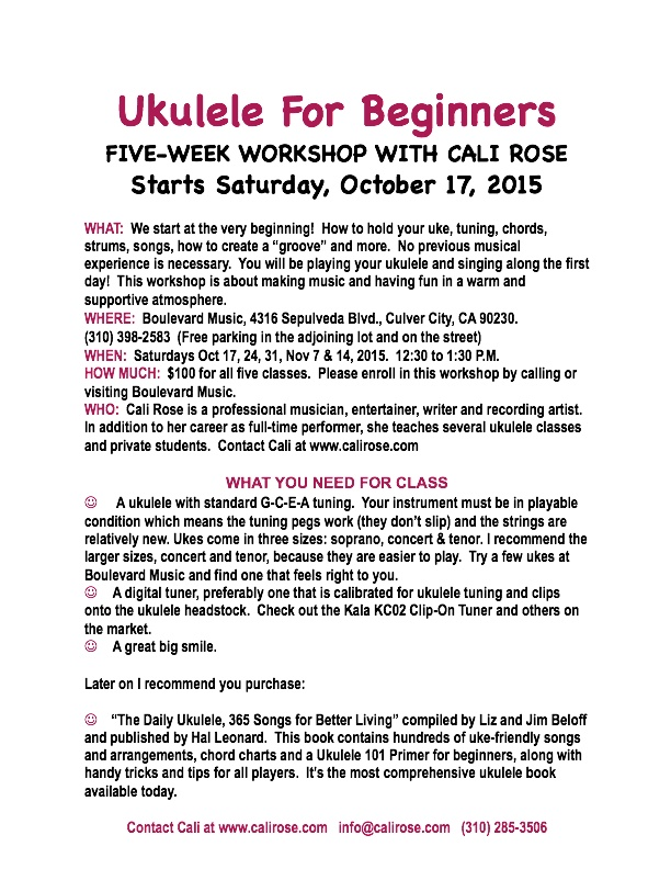 Uke For Beginners flyer, fall 2015