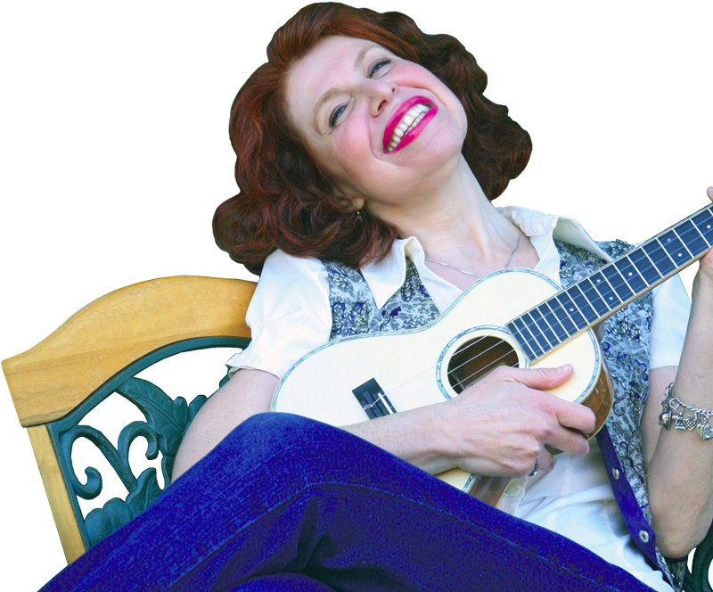 a laughing Cali Rose plays a ukulele while reclining on a bench