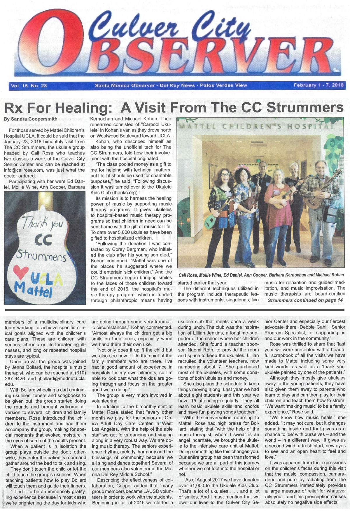 newspaper article featuring Cali and The CC Strummers