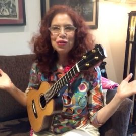 cali rose playing her song Detour Ahead on the ukulele