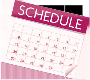 a calendar with SCHEDULE written on top