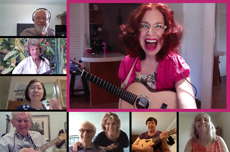 lots of people in squares using zoom to have ukulele classes