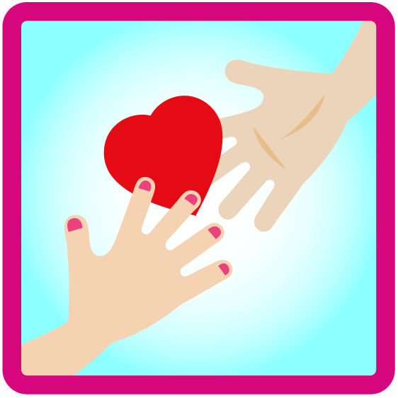 a hand giving a heart to a second hand