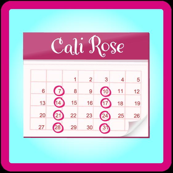 a calendar with Cali Rose written on top